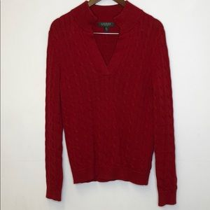 Ralph Lauren Red Sweater PL Cable Knit Holiday